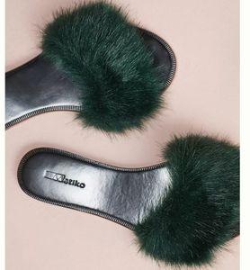 Matiko Faux Fur Slides - hunter green